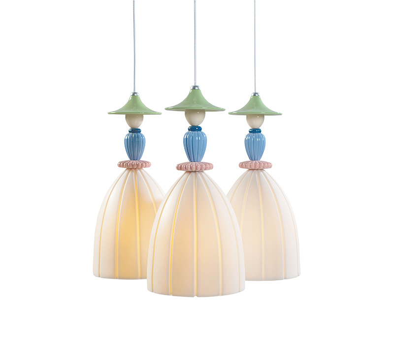 Mademoiselle Round Canopy 3 Lights Lladro Thailand by CrystalSymphony