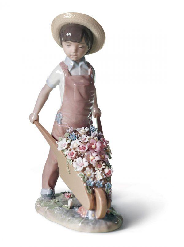 Wheelbarrow with Flowers Boy